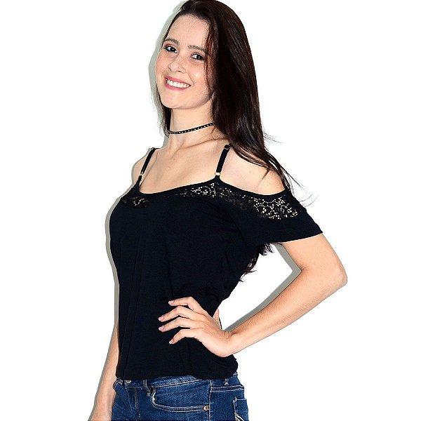 Blusa Ombro Vazado com Renda