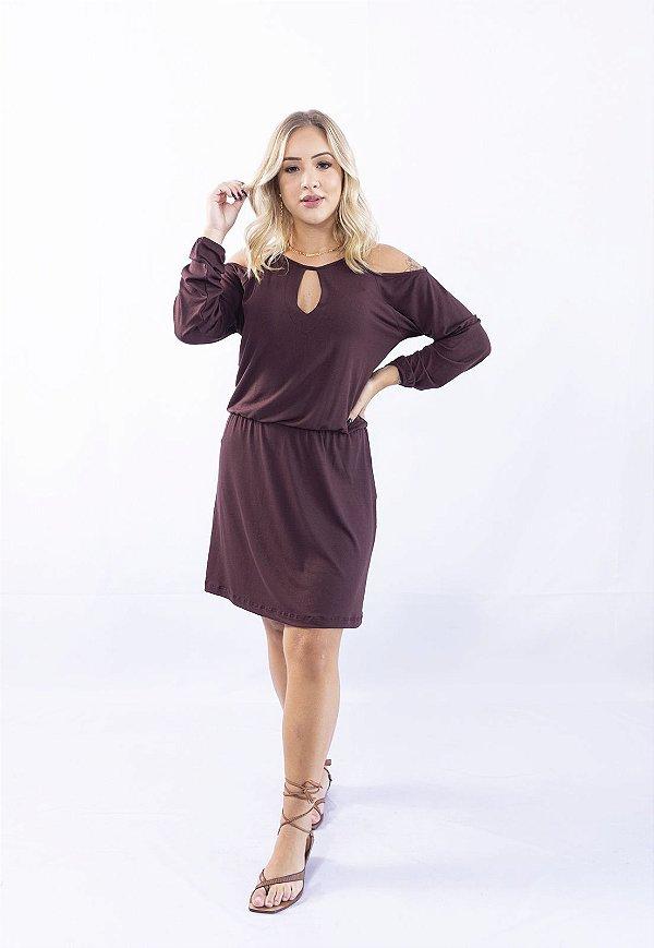 Vestido Up Side Wear com Decote Gota Marrom