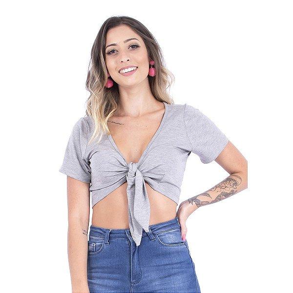 Blusa Up Side Wear Amarrada na Frente Cinza