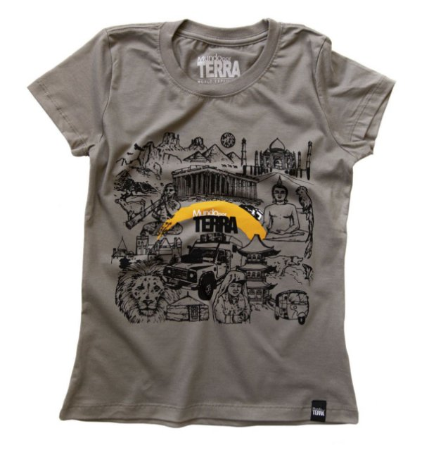 Camiseta Mundo por Terra Cinza Pedra Baby Look (feminino)