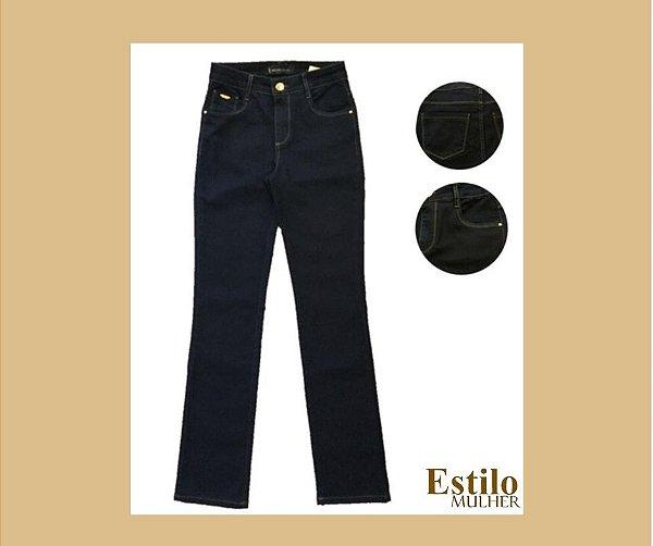 Calça Jeans Reta com Cintura Alta