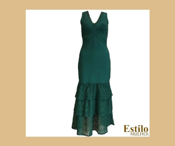 Vestido Mídi Bandagem com Elastano e Detalhes em Renda