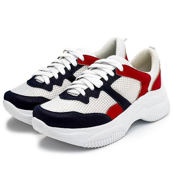 Tênis Sneakers Chuncky Recortes Branco Marinho e Vermelho