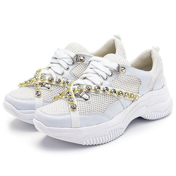 Tênis Sneakers Chunky Recortes Napa Branca Detalhes Pedras Strass