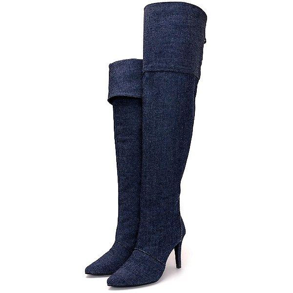 Bota Over Salto Fino Cano Alto Tecido Jeans