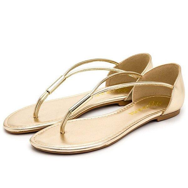 Sandália Rasteira Em Metalizado Dourado Outlet