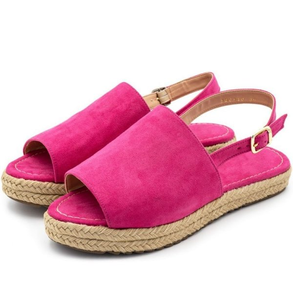 Sandália Anabela Rasteira Flat Avarca Em Camurça Pink Outlet