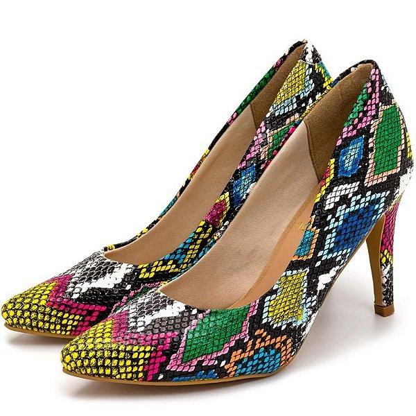 Sapato Scarpin Salto Alto Fino Em Cobra Colorida Outlet