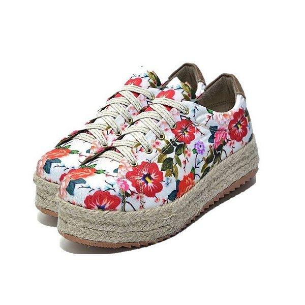 Tênis Feminino Casual Flat Form Em Tecido Floral Primavera Outlet