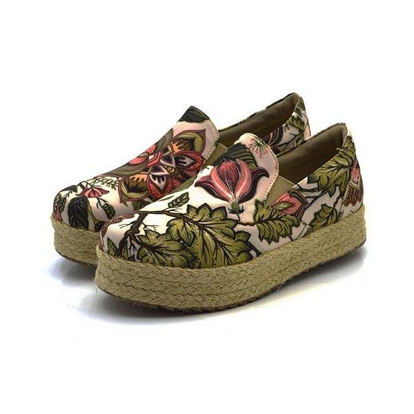 Tênis Sapatilha Feminino Slip On Flat Form Em Tecido Floral Verão Outlet