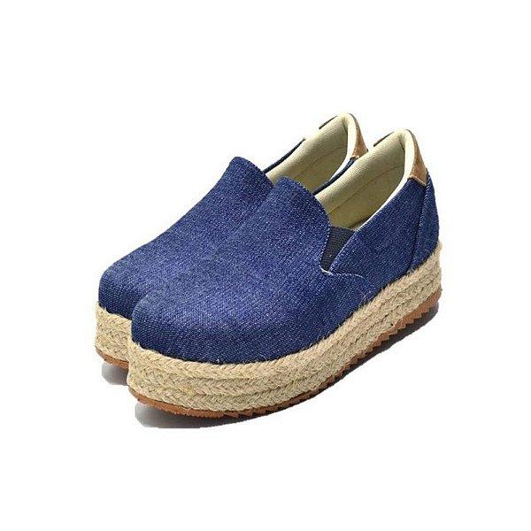 Tênis Sapatilha Feminino Slip On Flat Form Em Tecido Jeans  Outlet