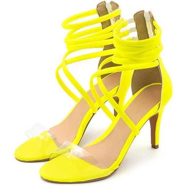Sandália Salto Alto Meia Cana Em Napa Amarela Neon Com Transparência Outlet