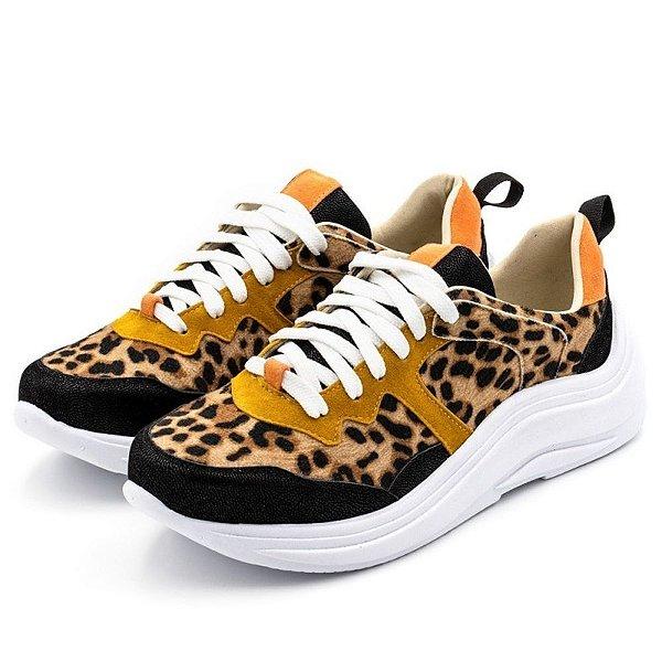Tênis Sneakers Recortes Em Sintético Pelo De Onça, Nobucado Preto E Nobucado Mostarda Outlet