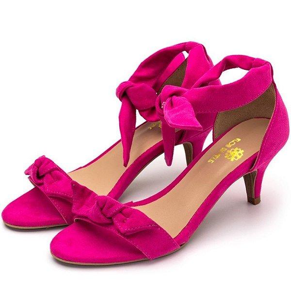 Sandália Feminina Salto Baixo Fino Com Laço Camurçado Rosa Pink Outlet