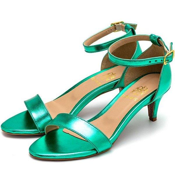 Sandália Feminina Salto Baixo Fino Em Verde Metalizado Outlet