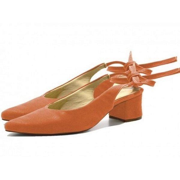 Sapato Scarpin Salto Grosso Baixo De Amarrar Em Camurça Laranja Outlet