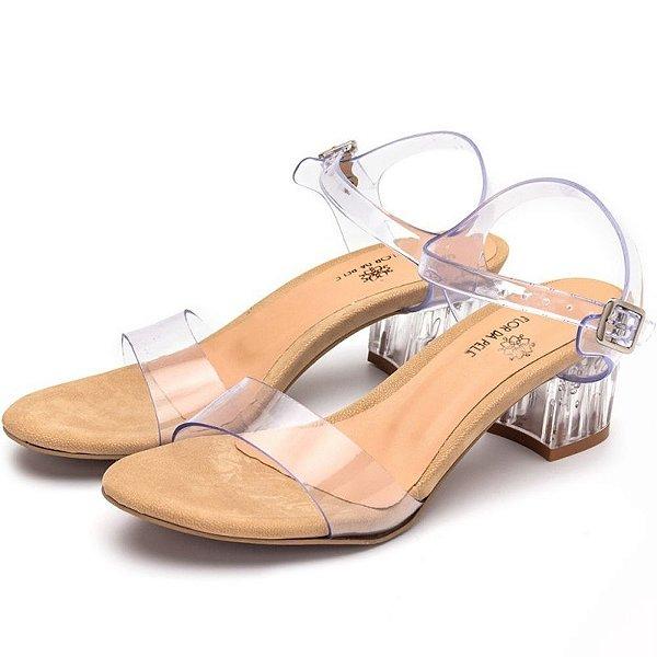 Sandália Salto Baixo Em Transparência E Salto Transparente Outlet