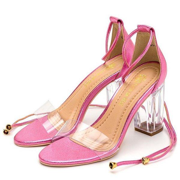 Sandália Salto Alto Em Rosa Cintilante Com Transparência E Salto Transparente Outlet