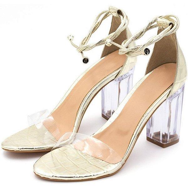 Sandália Salto Alto Em Napa Croco Dourado Com Transparência E Salto Transparente Outlet