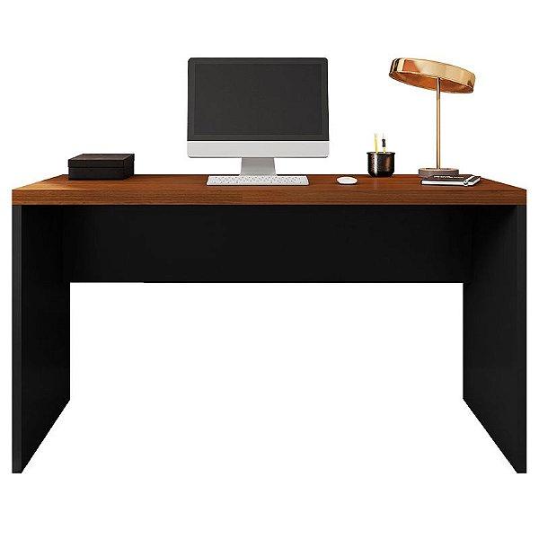 Mesa De Computador Studio Nogueira / Preto Tex - Caemmun
