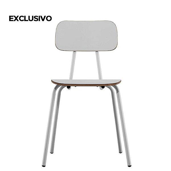 Cadeira School Decorativa Branca Overseas