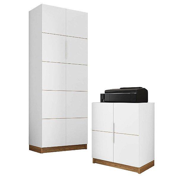 Armário Alto e Baixo Para Escritório Cubic Branco Caemmun