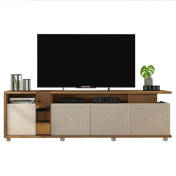 Rack Bancada Para TV 75 Polegadas Columbus Buriti Off White