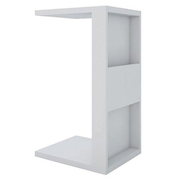 Mesa De Apoio Lateral Para Notebook e Sofá Branco Book Líder Design