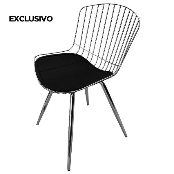 Cadeira Berta Decorativa Cromada - Overseas
