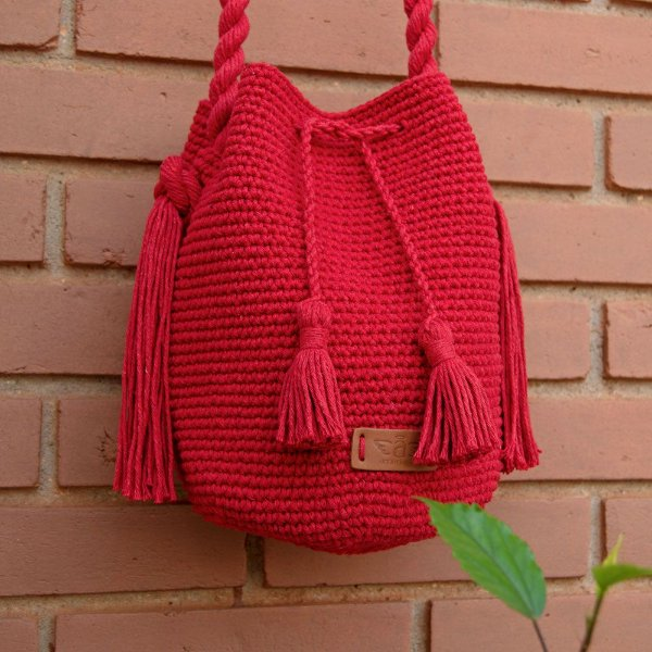 Bolsa Saco Feminina de Crochê Amélie