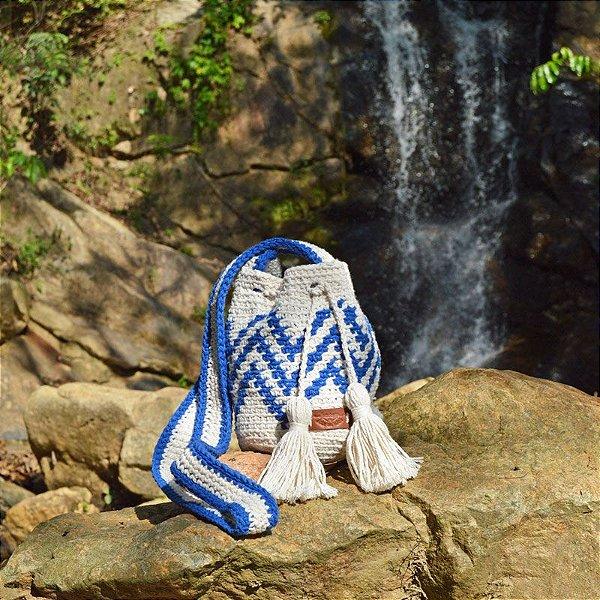 Bolsa Saco de Crochê Zig Zag Azul