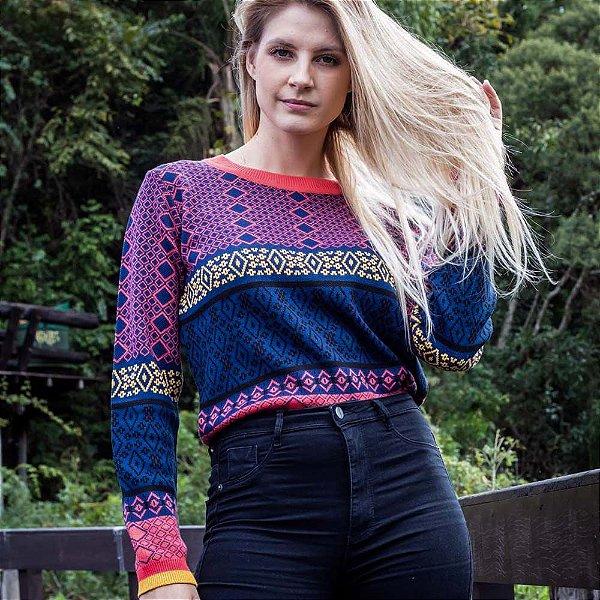 Suéter de Tricot Jacquard Étnico Feminino
