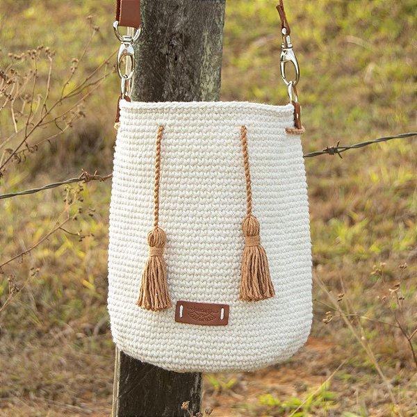 Bolsa Saco Artesanal de Crochê Natural