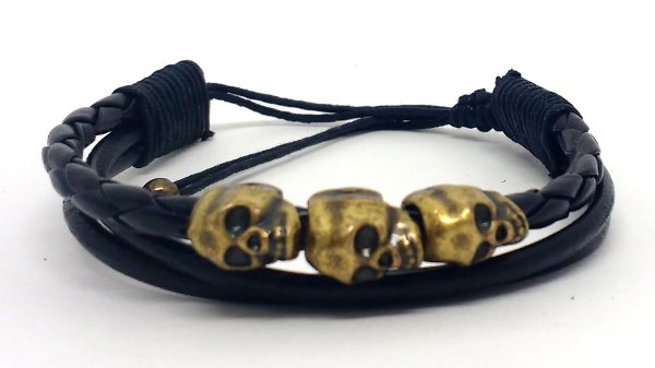 Pulseira Triple Skull