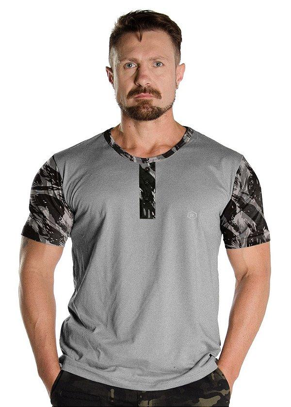 Camiseta Mescla com Detalhes Camuflados