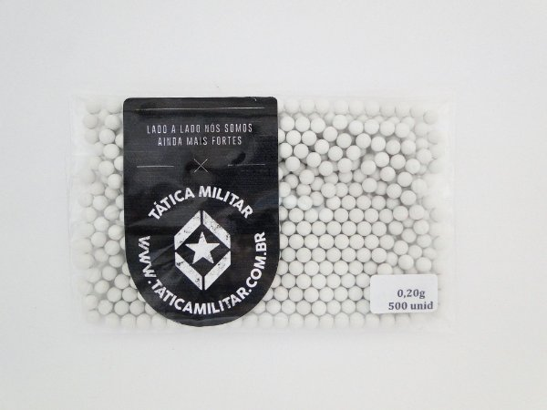 BBs p/ Airsoft 0,20g 500 Unidades Branca - 6mm BB KING