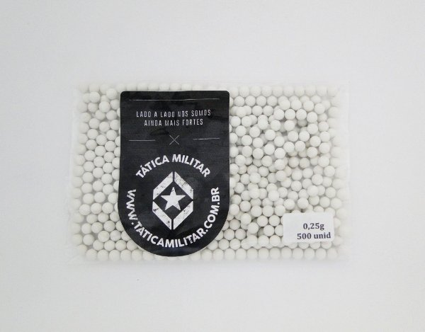 BBs p/ Airsoft 0,25g 500 Unidades Branca - 6mm BB KING