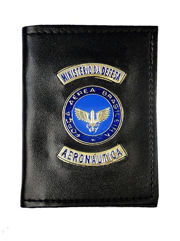 Carteira com Brasão Azul Ministério da Defesa Aeronáutica Preta (5 Unidades)