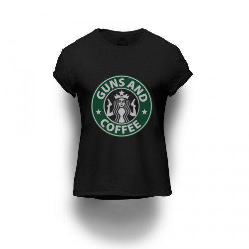 Camiseta Estampada Guns and Coffee