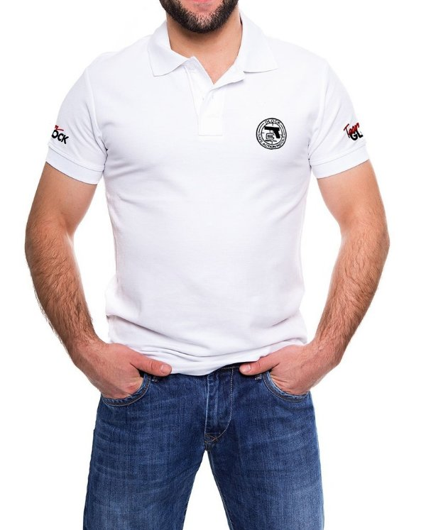Camisa Gola Polo Glock Action Branca e Preta