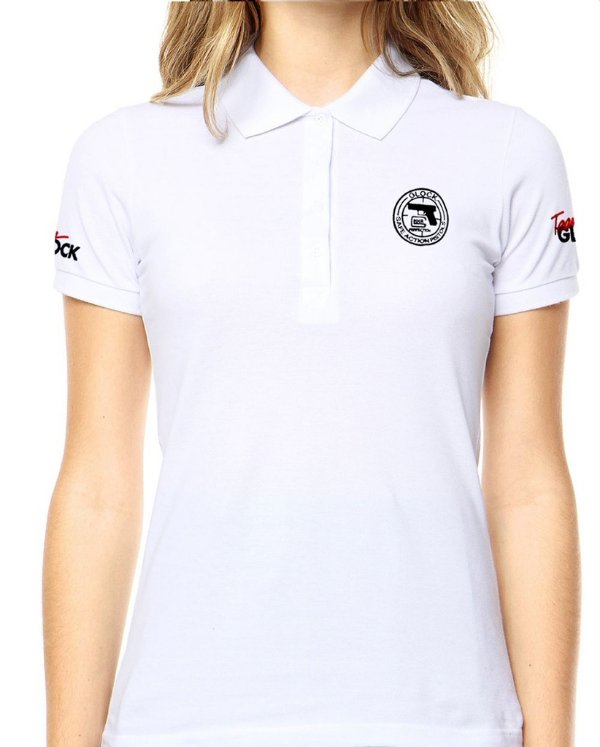 Camisa Gola Polo Feminina Glock Action Branca ou Preta