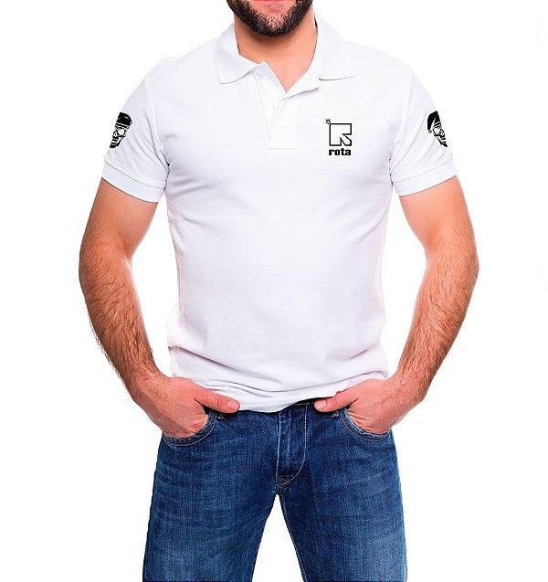 Camisa Masculina Gola Polo Branca ROTA