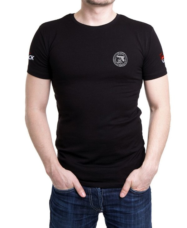 Camiseta Preta Masculina Bordada Glock Action