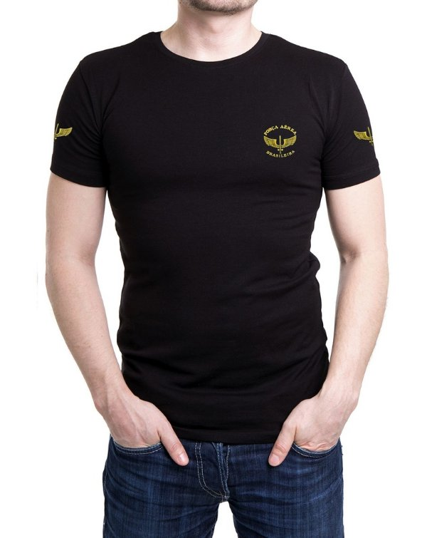 Camiseta Masculina Preta Bordada Força Aérea Brasileira - FAB