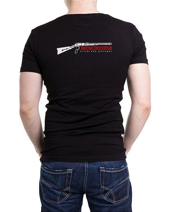 Camiseta Masculina Preta Bordada Winchester