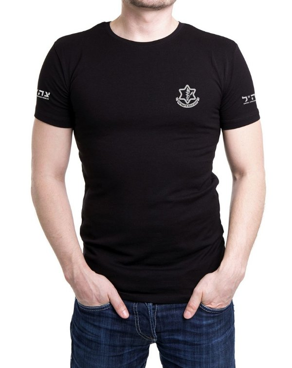 Camiseta Masculina Preta Bordada Israel Defense Forces