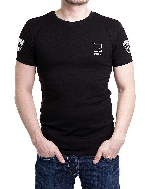 Camiseta Masculina Preta Bordada ROTA