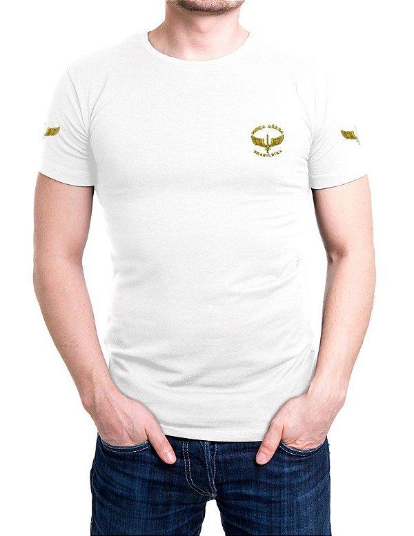 Camiseta Bordada Força Aérea Brasileira Branca