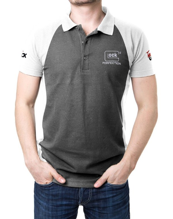 Camisa Gola Polo Glock Perfection - Cinza e Branco