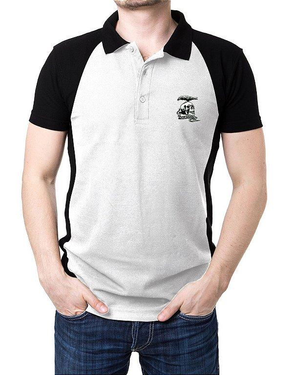 Camisa Gola Polo Mercenários - Branco e Preto